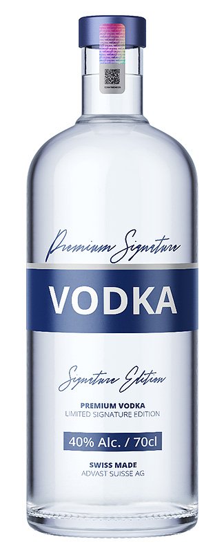 Premium vodka bottle with valuesafe hologram