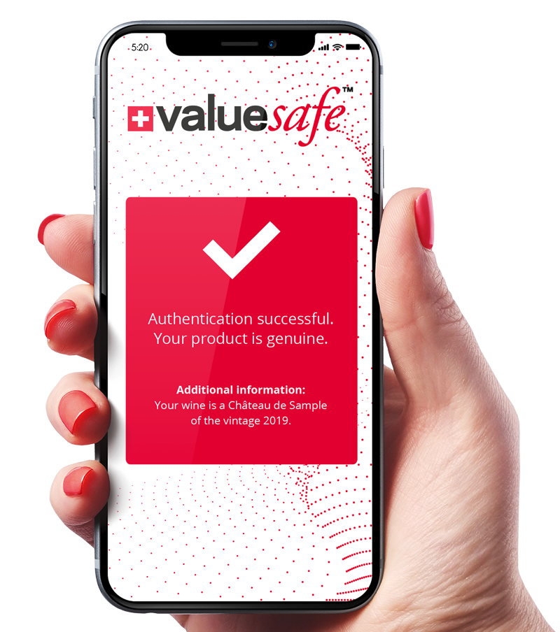 valuesafe authentication wine bottle