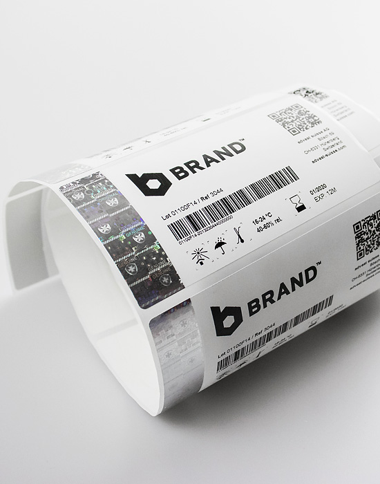 Paper Label with holographic security foil